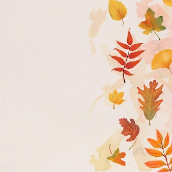 Autumn leaves beige background vector