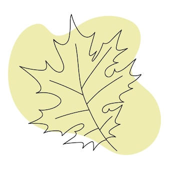Autumn leaves black line drawing on colored background isolated image