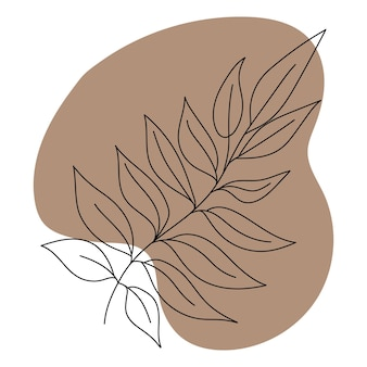 단풍 색 배경 고립 된 이미지에 검은 선 그리기