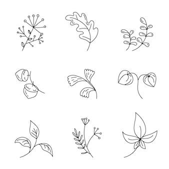 Осенние листья, ветви и растения в стиле каракули на белом фоне