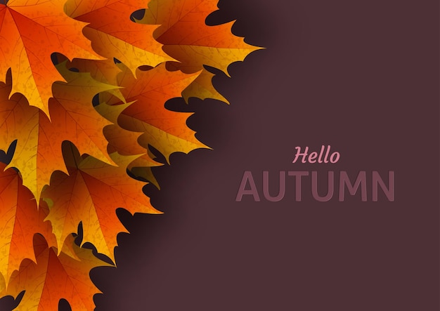 Осенние листья. яркие красочные осенние дубовые листья. шаблон для плакатов. сезонная распродажа в магазине.
