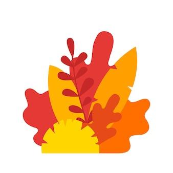 紅葉の構成。白い背景で隔離のベクトル黄色の木の葉。ブナ、栗、リンデン、オーク、ヤナギ、バーチ、サンザシ、カエデ、シデ、トネリコの葉のイラスト