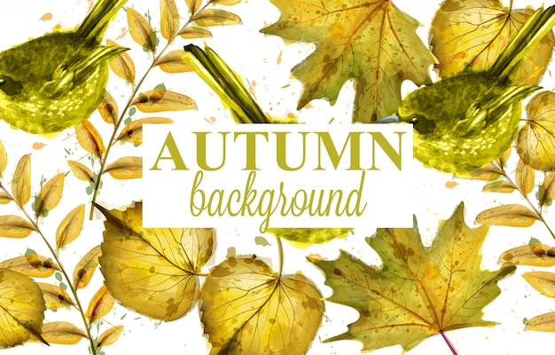 Autumn leaves decor background