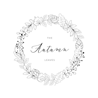 Autumn leaves doodle line art ring black and white vector