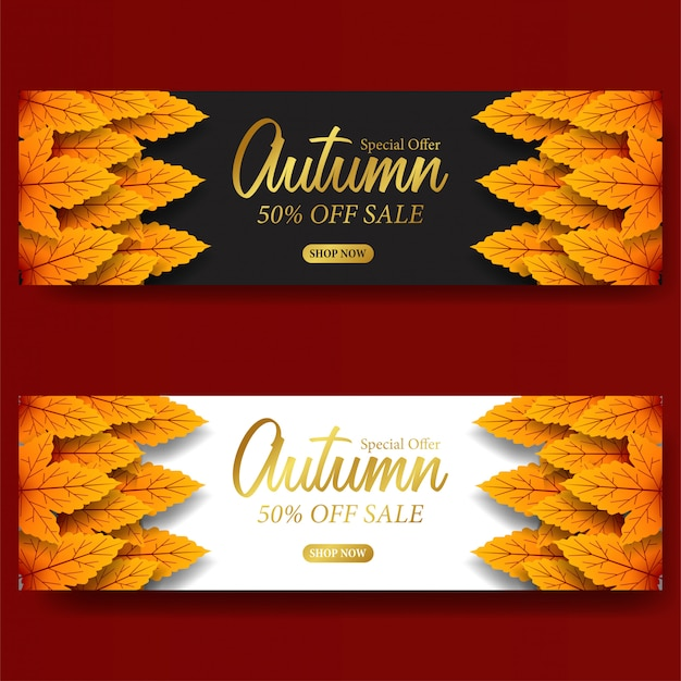 Autumn leaves fall sale offer banner template