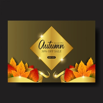Autumn leaves fall sale offer template