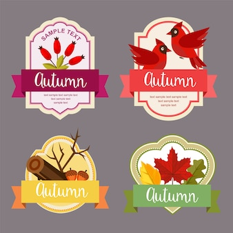 Autumn leaves flat style labels with barberry elements set