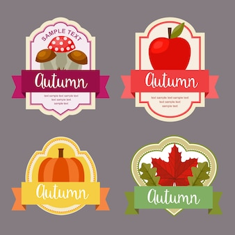 Autumn leaves flat style labels with nature element set