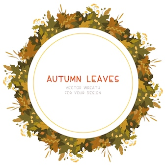 Autumn leaves flat vector decorative round frame. retro fall foliage with red guelder berries. seasonal botanical wreath with copyspace.