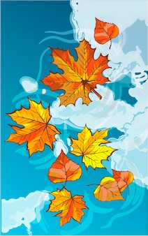 Autumn leaves floating in a puddle. reflection of a blue sky with clouds. card with colorful autumn elements. vector illustration. autumn banner background.