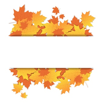 Autumn leaves frame on background with copy space colorful maple ornament fall season