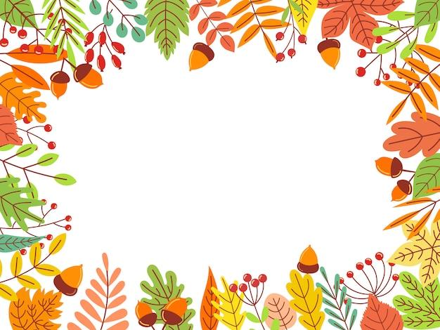 Autumn leaves frame. fallen yellow leaf, september foliage and autumnal garden leaves border  illustration