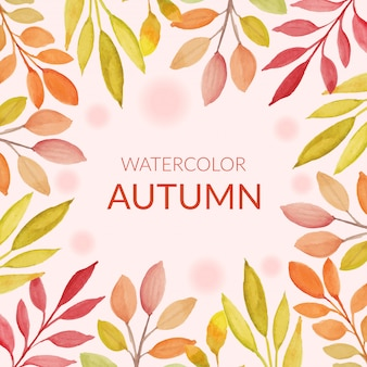 Осенние листья кадр в стиле акварели