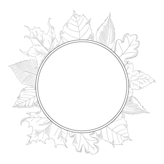 Autumn leaves frame in a sketch style