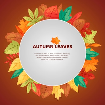 Autumn leaves frame template