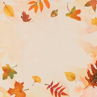 Autumn leaves frame vector on beige background