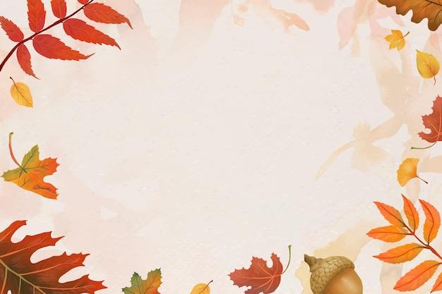 Foglie di autunno cornice vettoriale su sfondo beige