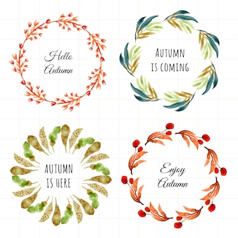 Autumn leaves frame watercolor set 4 in 1
