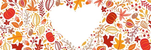 Осенние листья, фрукты, ягоды и тыквы обрамляют сердечную рамку