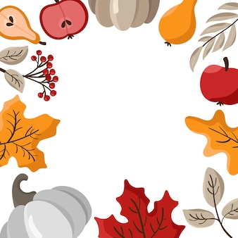 Autumn leaves, fruits, berries and pumpkins border frame background with space text
