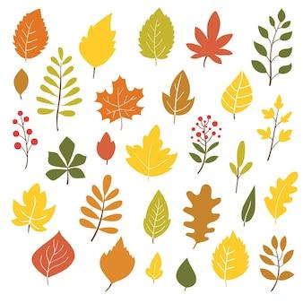 Осенние листья рисованной стиль векторные иллюстрации