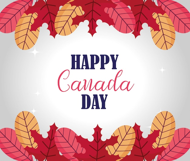 Autumn leaves of happy canada day design