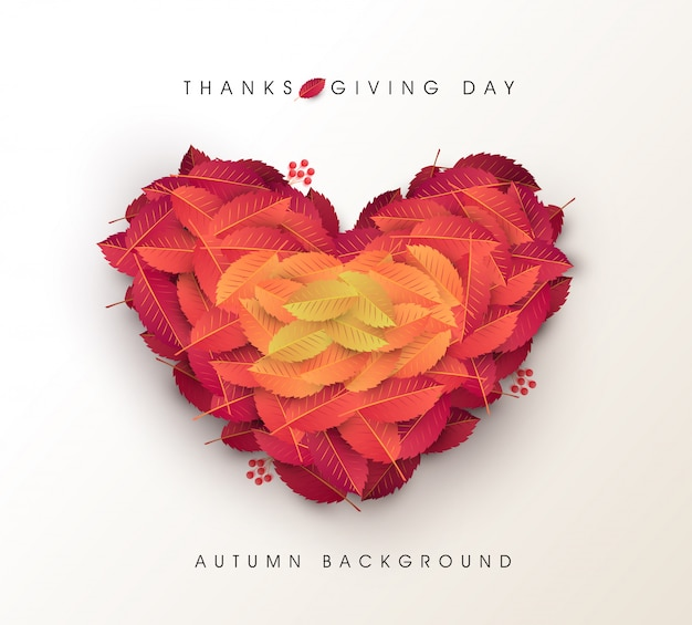 Autumn leaves heart shape background. thanksgiving day