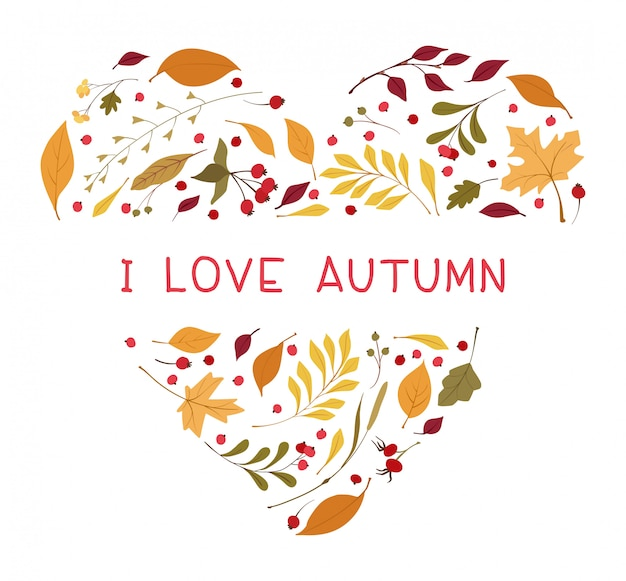 Autumn leaves heart shaped flat vector frame.