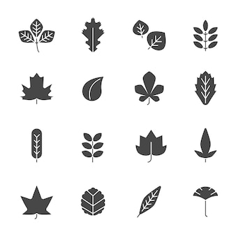 Autumn leaves icons, silhouettes of various autumn leaves