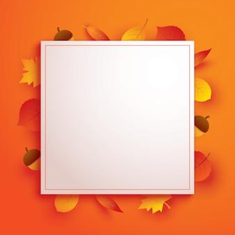 Осенние листья в стиле бумажного искусства с белой рамкой на оранжевом фоне.