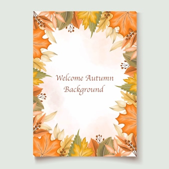 Autumn leaves invitation card template