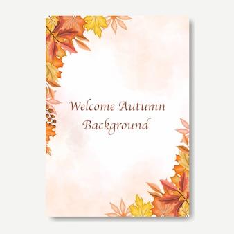 Autumn leaves invitation card templateate