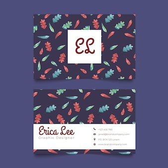 Autumn leaves pattern name card