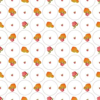 단풍 패턴 원활한 추상 라즈베리 열매와 원형 타일에 오렌지 잎