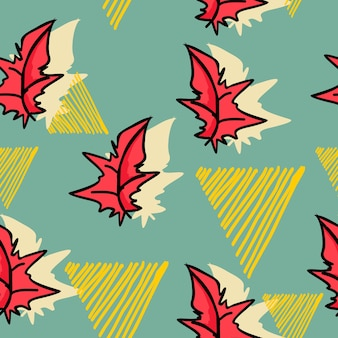 Autumn leaves pattern with colorful hand drawn style
