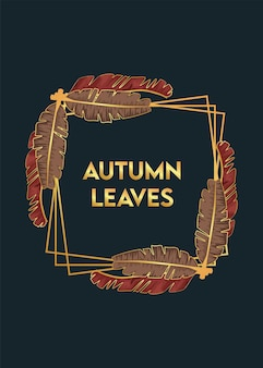 Осенние листья плакат с сухими листьями в квадратной рамке