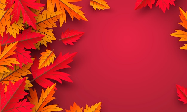 Autumn leaves red background with copy space