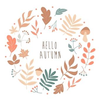 가 잎 라운드 프레임. 안녕하세요 가을입니다. 벡터