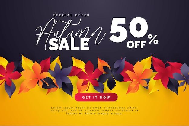 Осенние листья распродажа фоновый макет украсить листьями для распродажи или промо-плаката