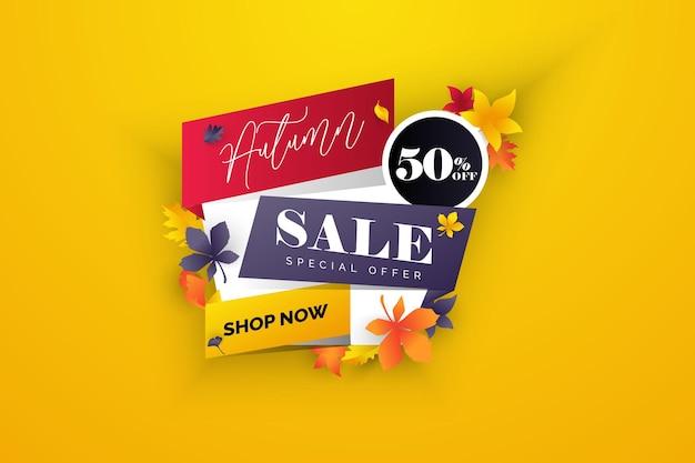 Осенние листья распродажа баннеры для социальных сетей рассказы распродажа веб-страница мобильный телефон