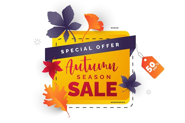 Autumn leaves sale design with falling leaves and lettering on light background vector illustration