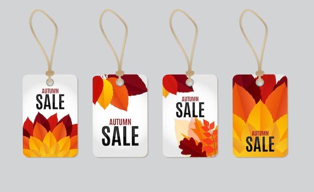 Осенние листья продажа тег этикетки фон векторные иллюстрации