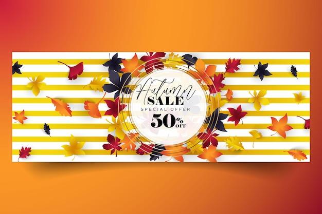 Осенние листья распродажа текстовые баннеры для сентябрьских торговых промо или 50 осенних скидок в магазине