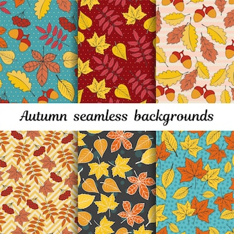 Autumn leaves seamless background vector set