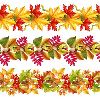 Autumn leaves seamless border