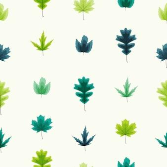 秋の葉のシームレスなパターン背景イラスト