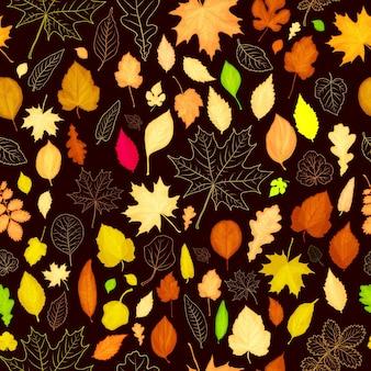 Осенние листья бесшовный фон фон. векторная иллюстрация