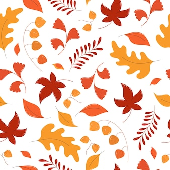 Autumn leaves seamless pattern in flat style