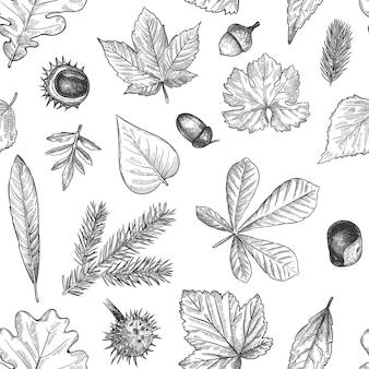 Осенние листья бесшовные модели. ручной обращается опавший лист, желуди, печать шишек для текстиля. обои, подарочная упаковка или вектор текстуры записки. гравированная листва, листья и хвоя ели