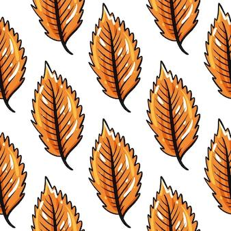 Осенние листья бесшовные модели. нарисованный от руки
